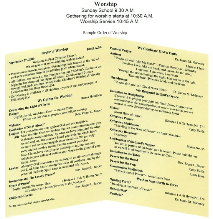 Sample Church Program